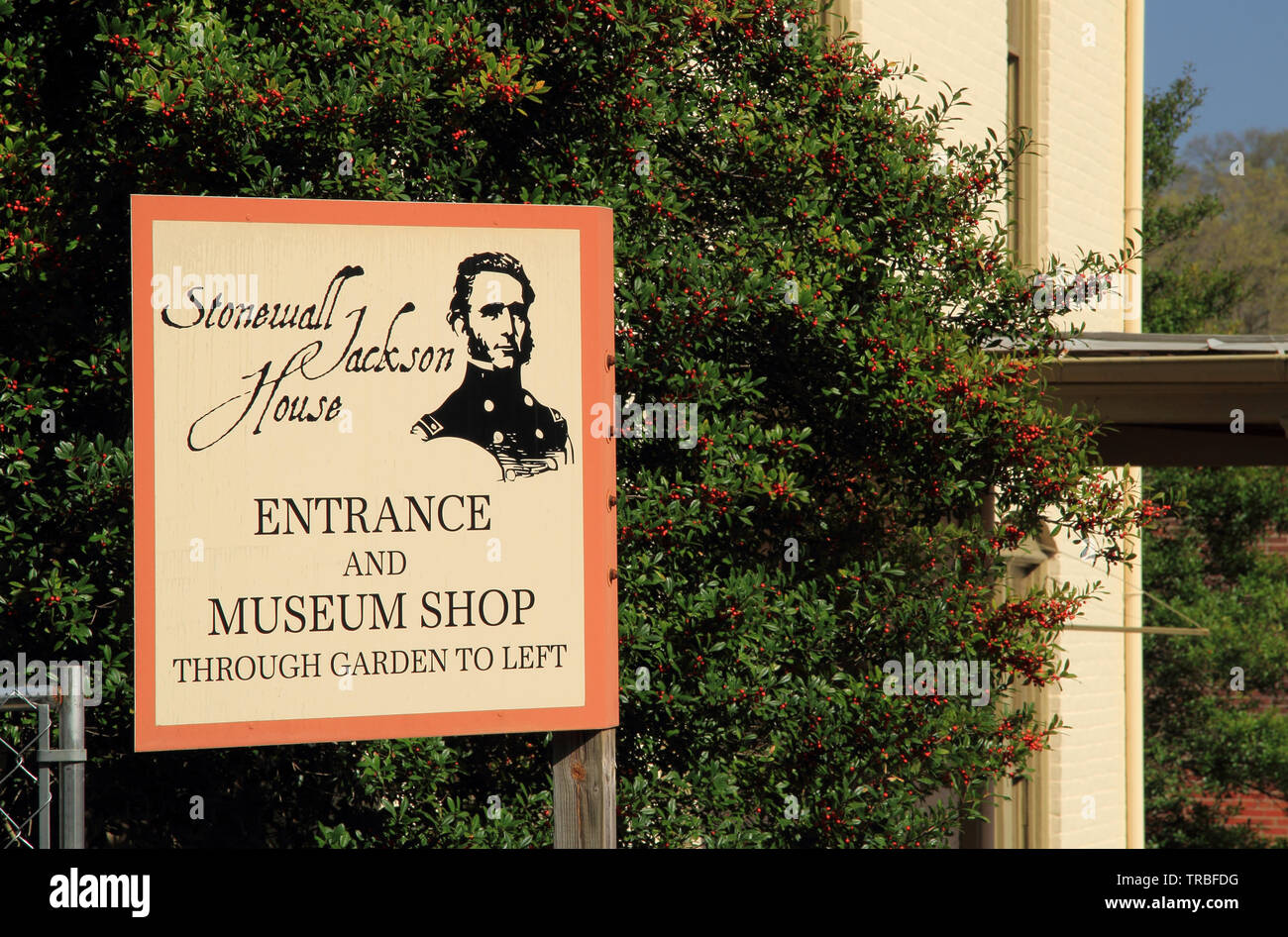The Stonewall Jackson House, pictured here, is a prominent landmark and popular tourist attraction in the historic town of Lexington Virginia Stock Photo