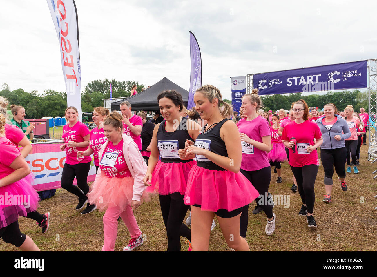 Warrington, UK. 2nd June 2019. Warrington, UK. 2nd June 2019. Race for Life 2019, Warrington, in aid of Cancer Research Credit Credit: John Hopkins/Alamy Live News - Stock Image