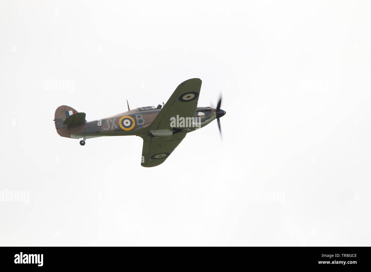 Single flying RAF Hurricane - Stock Image