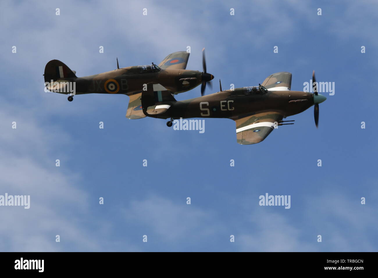 RAF pair of flying hurricanes - Stock Image