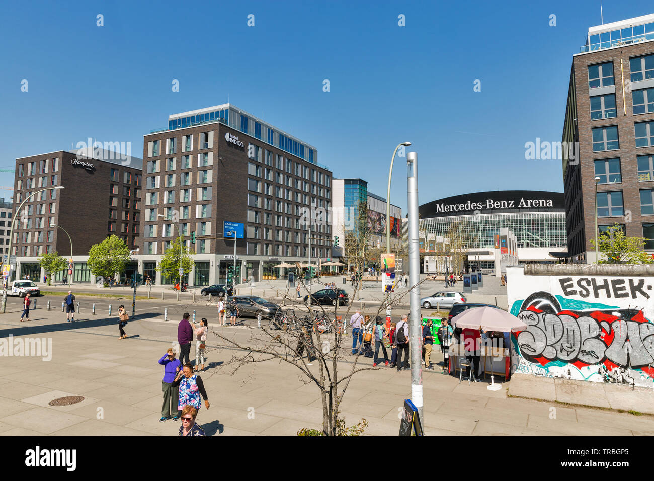 Berlin Germany April 18 2019 People Visit Mercedes Platz In Front Of Mercedes Benz Arena At Sunny Day Berlin Is The Capital And Largest City Of Stock Photo Alamy
