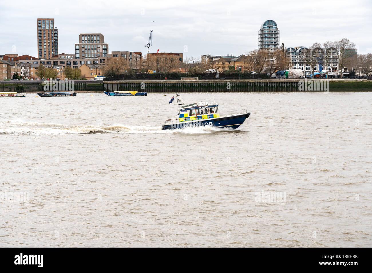 London, UK - March 05, 2019: Police marine patrol boat River Thames London England Uk - Stock Image