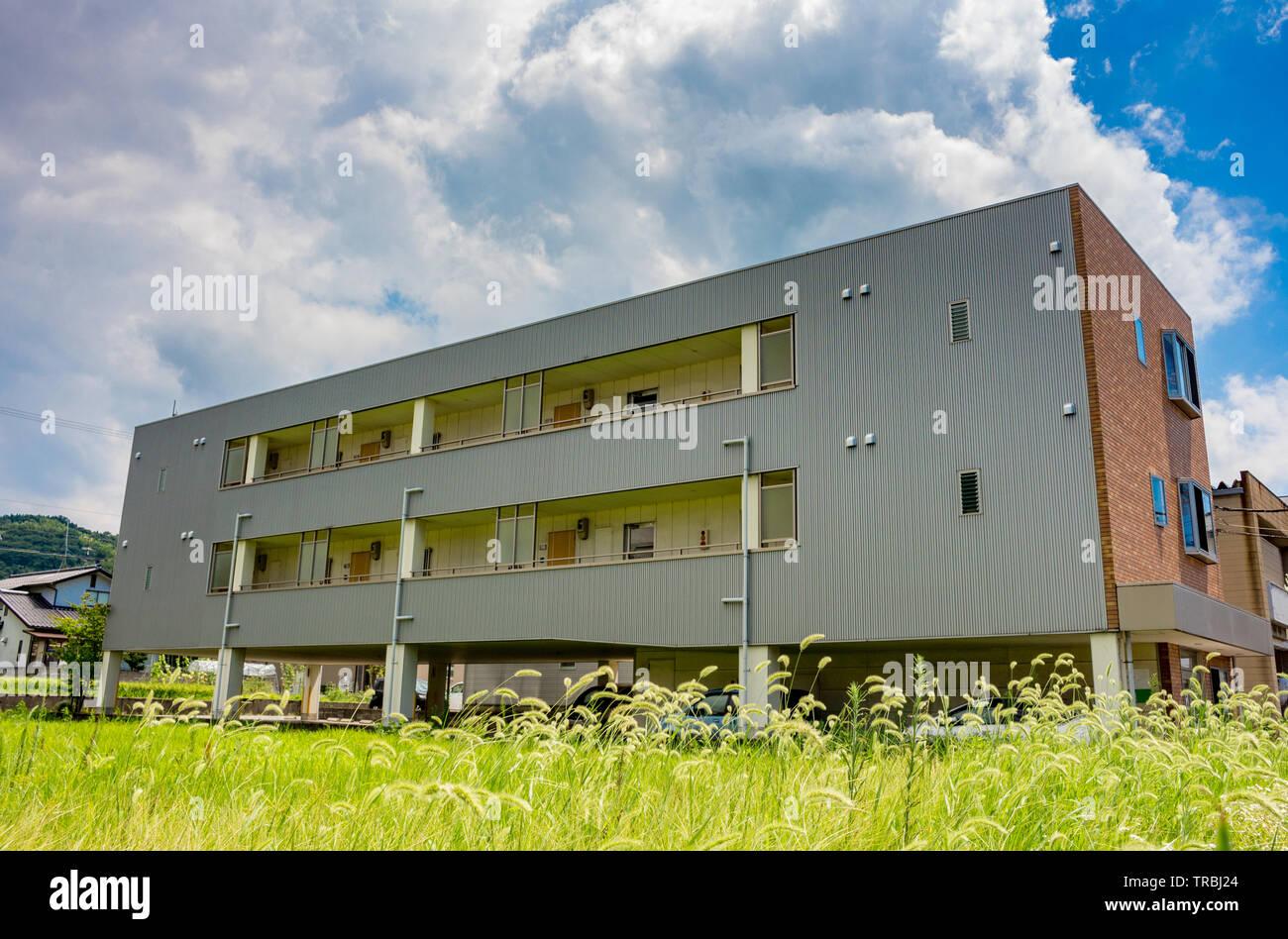 Apartment building, Kanazawa city, Ishikawa Prefecture, Japan. - Stock Image