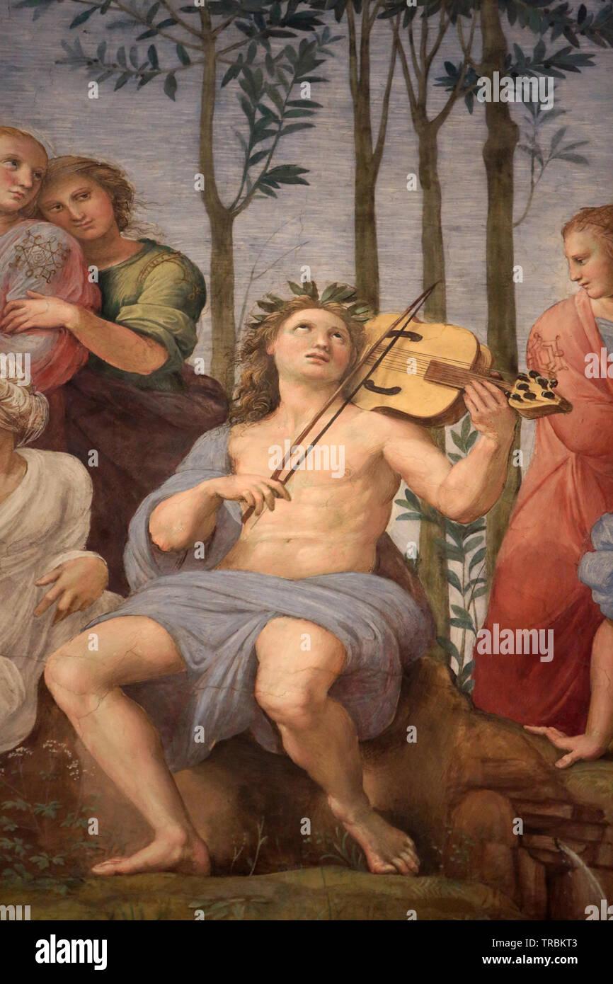 Le Parnasse. The Parnassus.1508-1511. Raphael. Fresque du peintre Italien Raphaël. 1509-1510. Chambres de Raphaël. Vatican Museum. Rome. Italy. - Stock Image