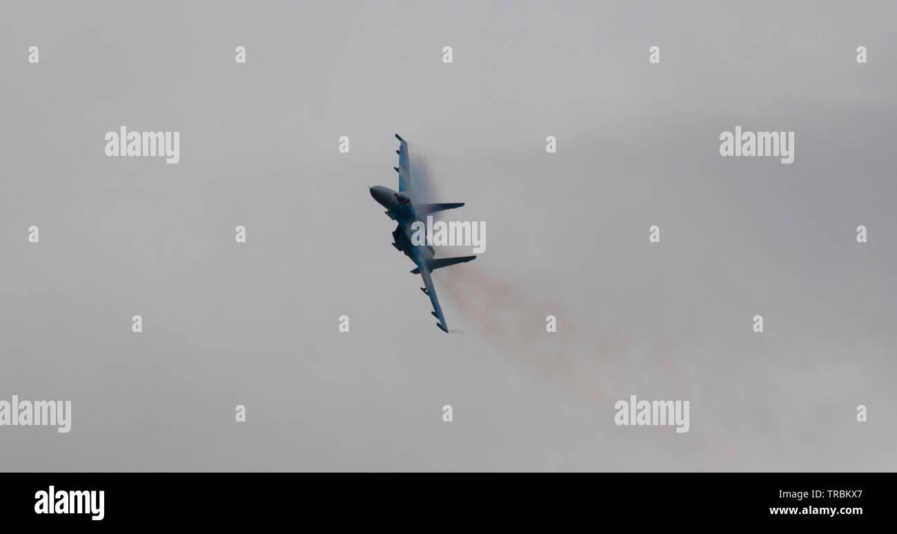 Ukrainian Air Force Su-27 Flanker, RAF Fairford - Stock Image