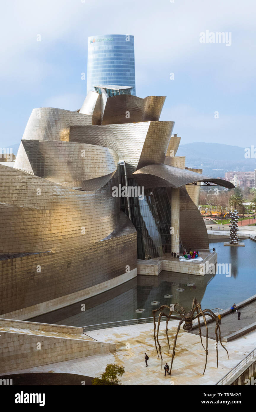 Bilbao, Biscay, Basque Country, Spain : General view of the Guggenheim Museum of modern and contemporary art designed by architect Frank Gehry alongsi - Stock Image