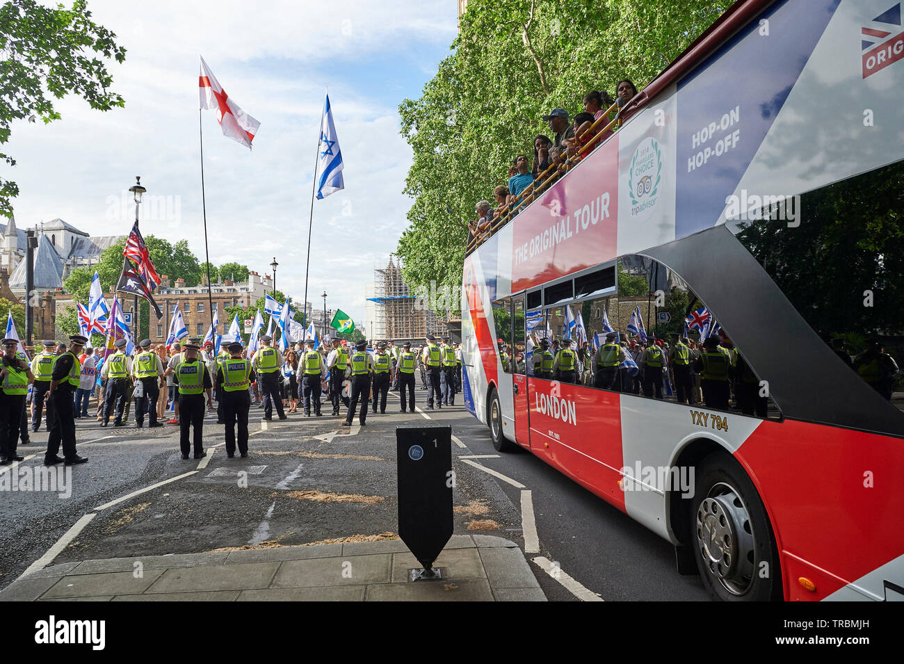 Westminster,  London, UK - 2nd June 2019 The al-Quds Day rally in Westminster, pro Palestine supporters were met by Pro Israel counter protesters during their march in London Today.   Credit: Thomas Bowles/Alamy Live News - Stock Image