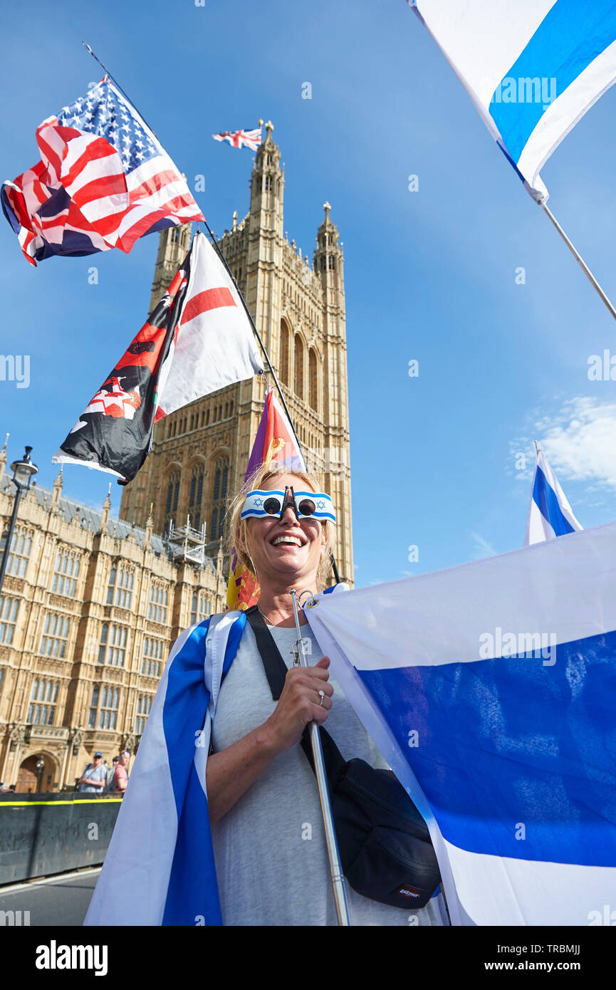 Westminster,  London, UK - 2nd June 2019 The al-Quds Day rally in Westminster, pro Palestine supporters were met by Pro Israel counter protesters during their march in London Today.  Credit: Thomas Bowles/Alamy Live News Stock Photo
