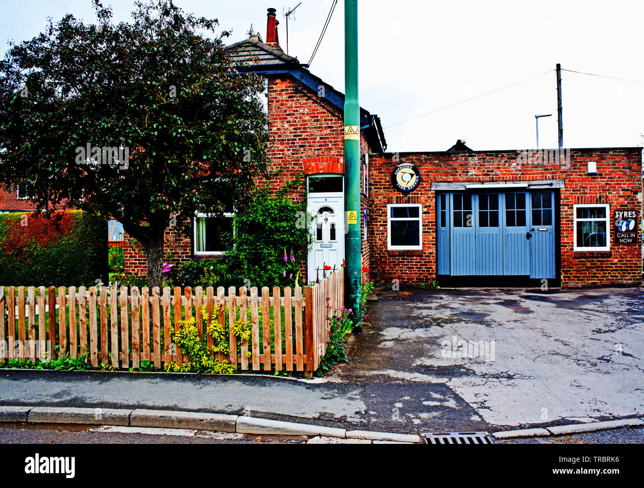 Arncliffe garage, Kirklevington, North Yorkshire, England Stock Photo
