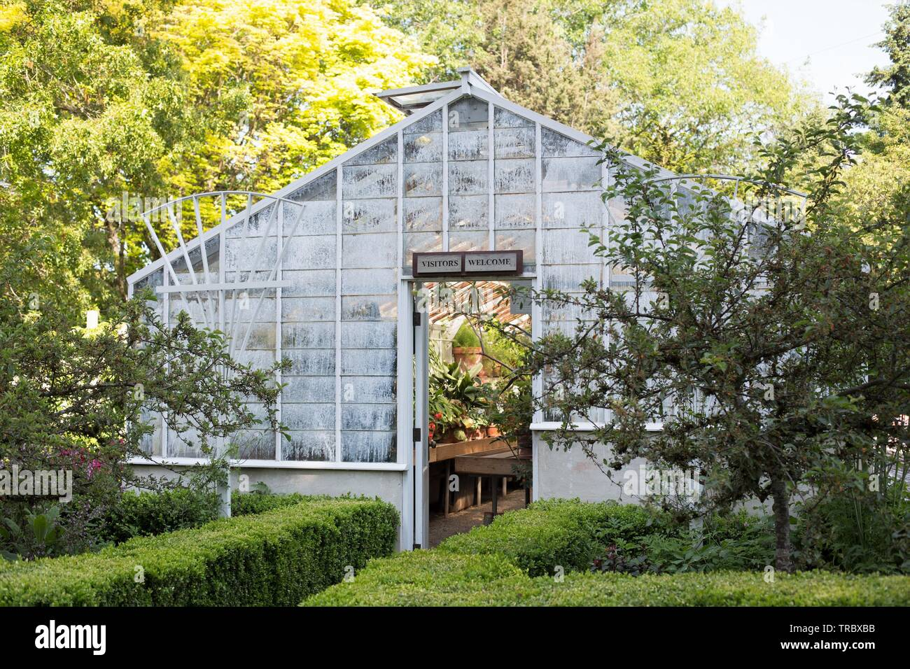 The greenhouse at Bush's Pasture Park in Salem, Oregon, USA. - Stock Image