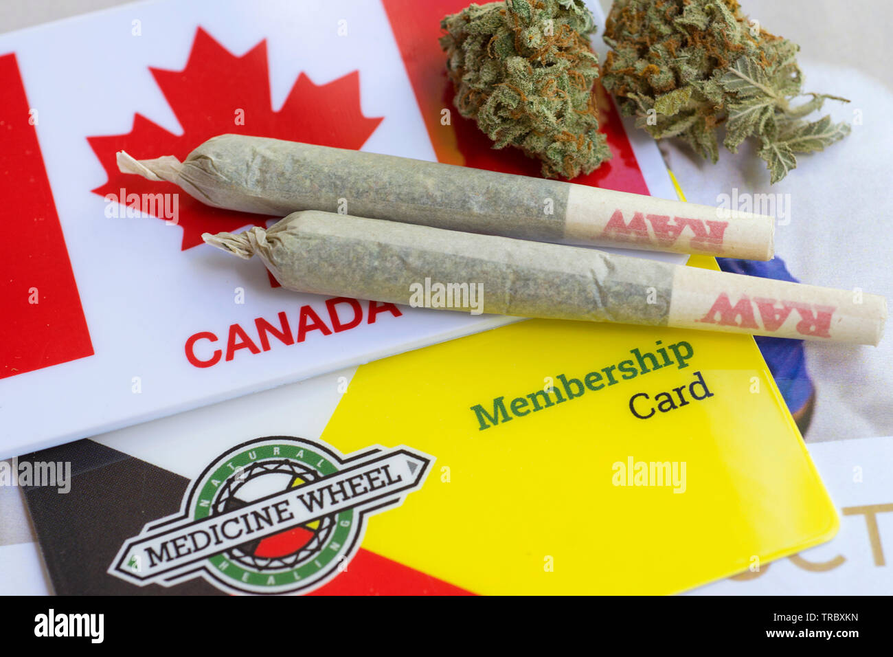 Cannabis Joints, Dried Weed Marijuana Flower, Cannabis Sativa - Stock Image