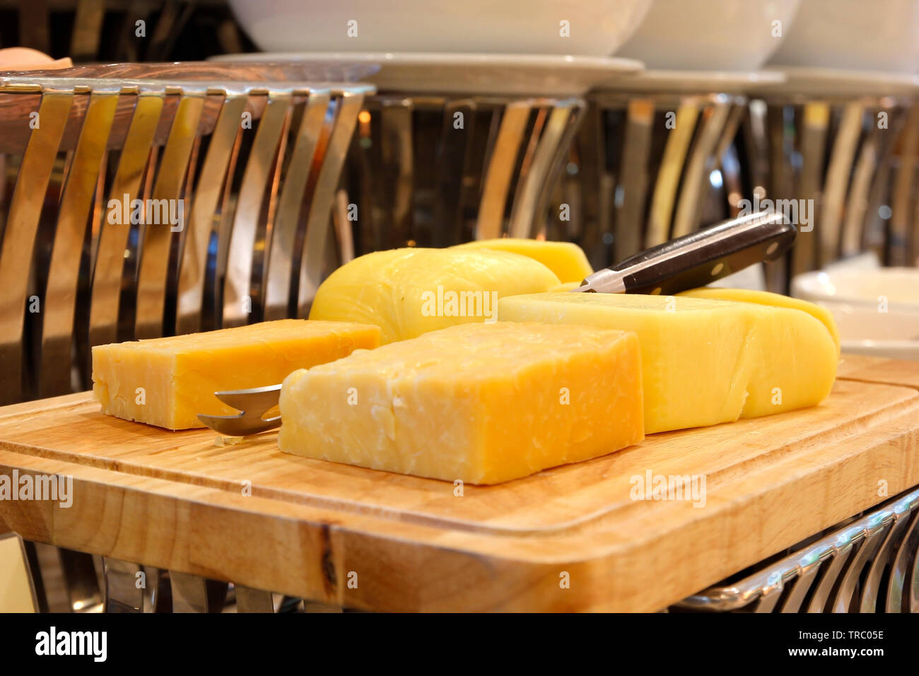 pile of butter on buffet line for breakfast Stock Photo