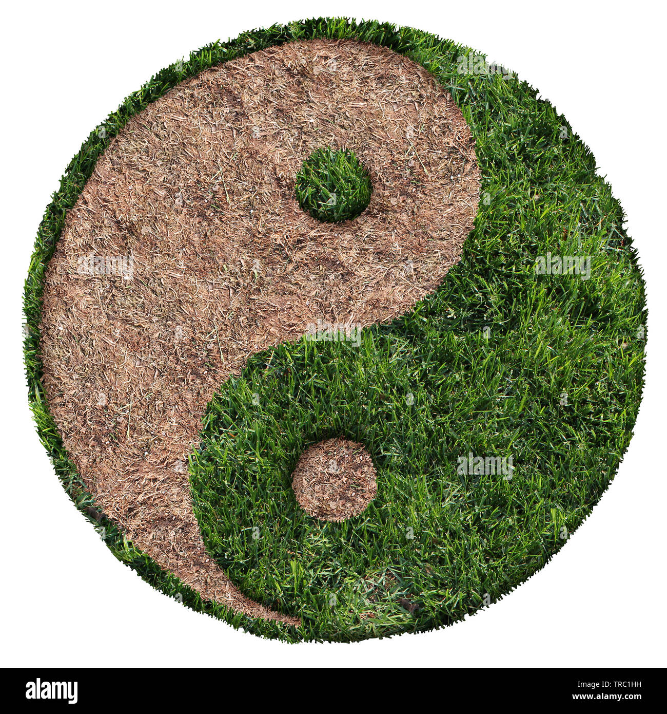 Lawn Care Symbol With Green And Brown Patch And Drought Area Shaped As A  Ying And Yang Symbol As A Landscaping Icon Composite Image.