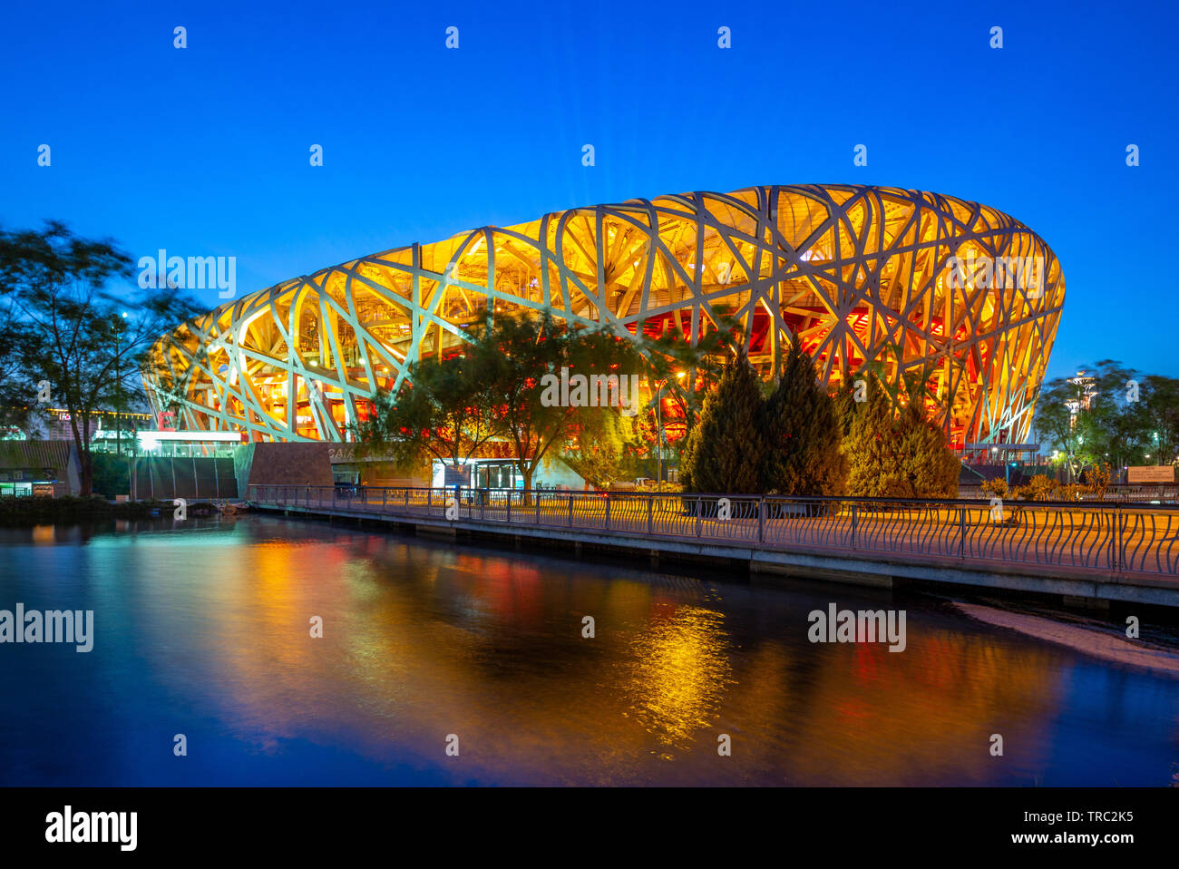 Beijing, China - May 6, 2019: Night view of Beijing National Stadium, also known as the Bird's Nest, designed for use throughout the 2008 Summer Olymp Stock Photo