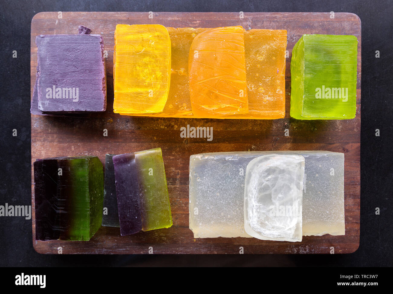 Colorful organic handmade soap bars close up - Stock Image