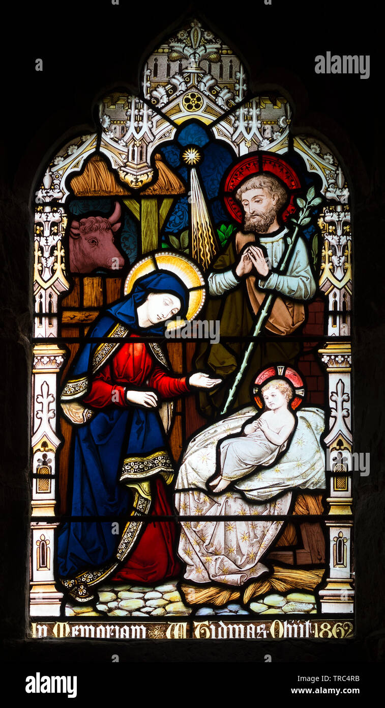 Nativity stained glass, St. Anne`s Church, Sutton Bonington, Nottinghamshire, England, UK Stock Photo