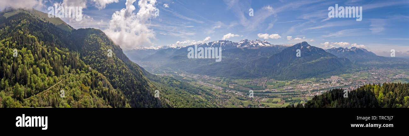 panoramas from Le Mole in the French Pre Alps looking down toward the Arve river valley and Geneva, Switzerland in the distan Stock Photo