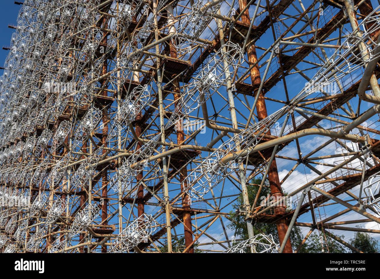 Ground view of Antenna of Soviet OTH-Radar Duga, known as Chernobyl-2,  Chernobyl Exclusion Zone, Ukraine Stock Photo