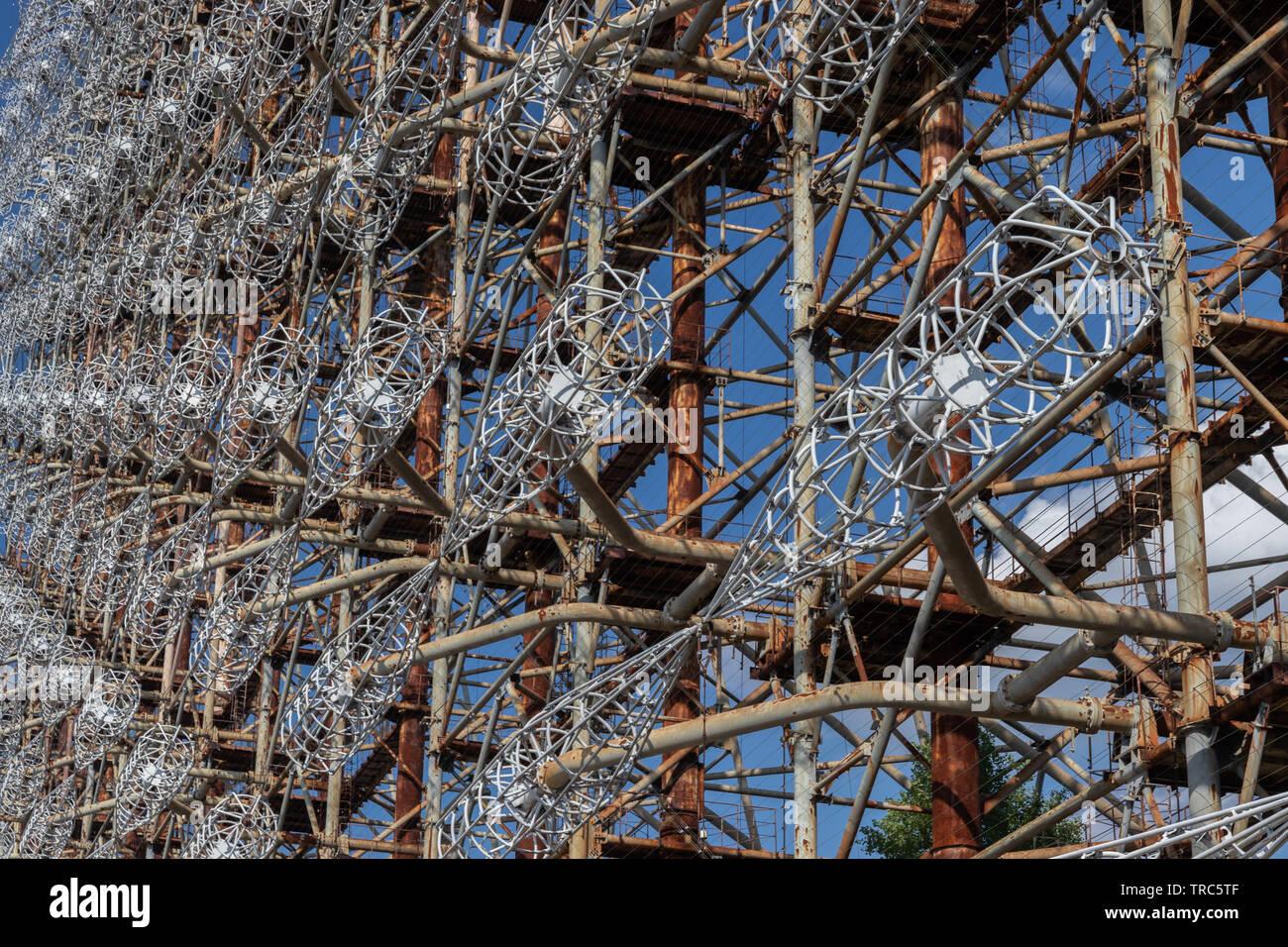 Ground view of Antenna of Soviet OTH-Radar Duga, known as Chernobyl-2,  Chernobyl Exclusion Zone, Ukraine - Stock Image