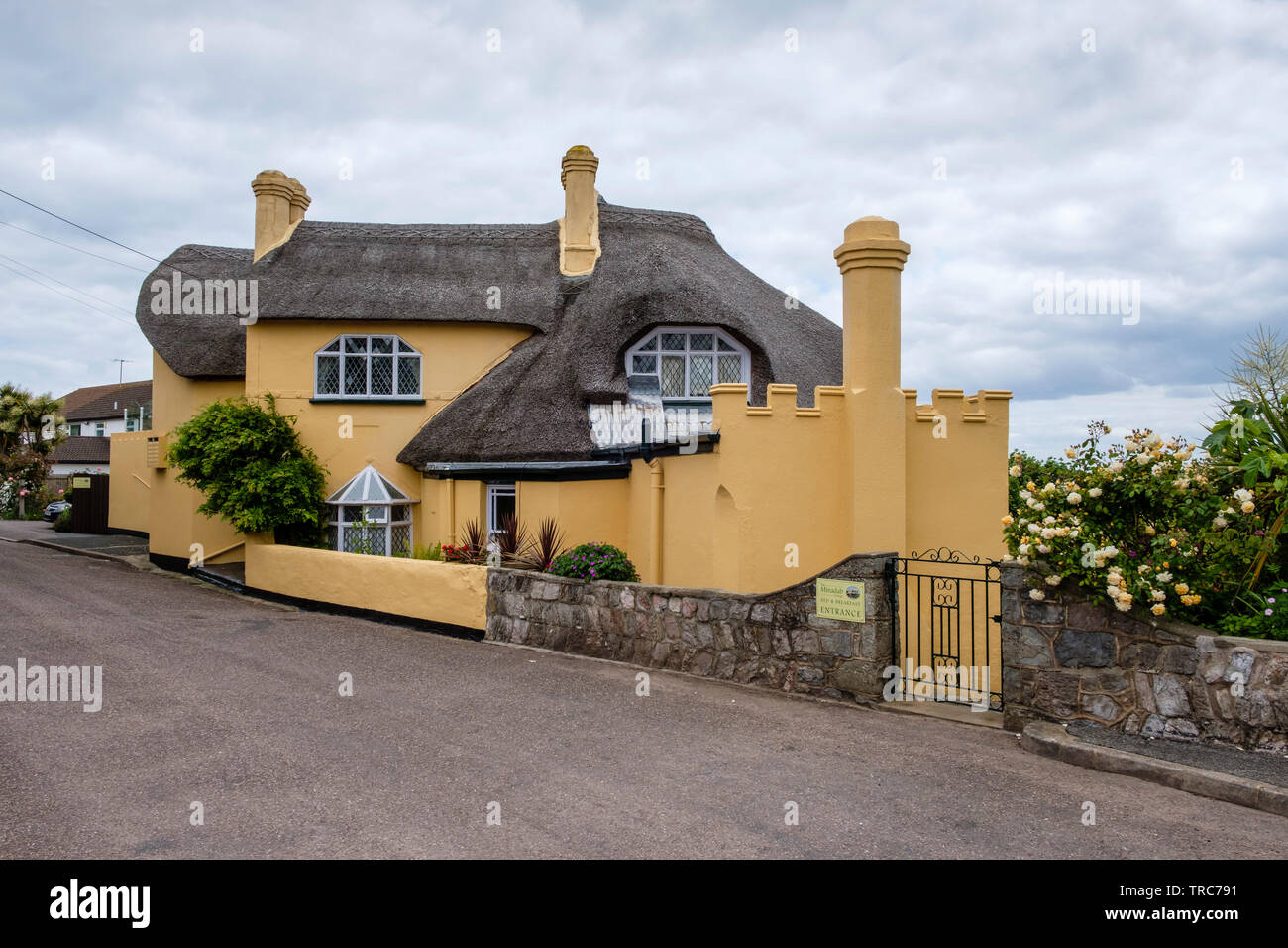 Thatched Cottage named, 'The Minadab Cottage', Regency, c1820, Teignmouth, Devon, England, UK. - Stock Image