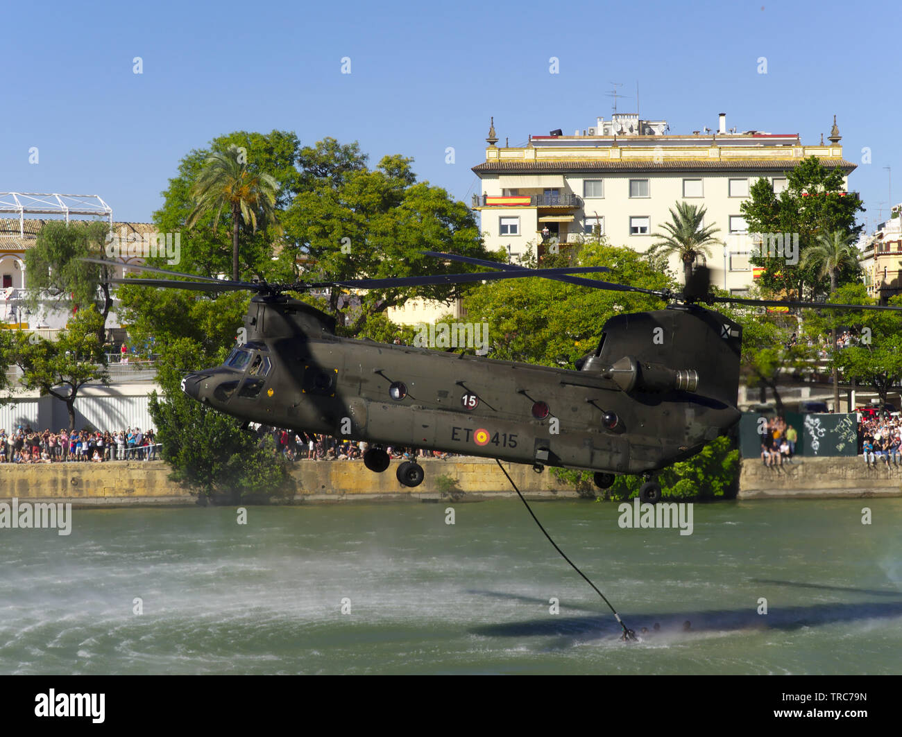 Seville, Spain; May 31st, 2019: CH47 Chinook helicopter from Spanish Army in military exhibition on the occasion of the day of the armed forces on the - Stock Image