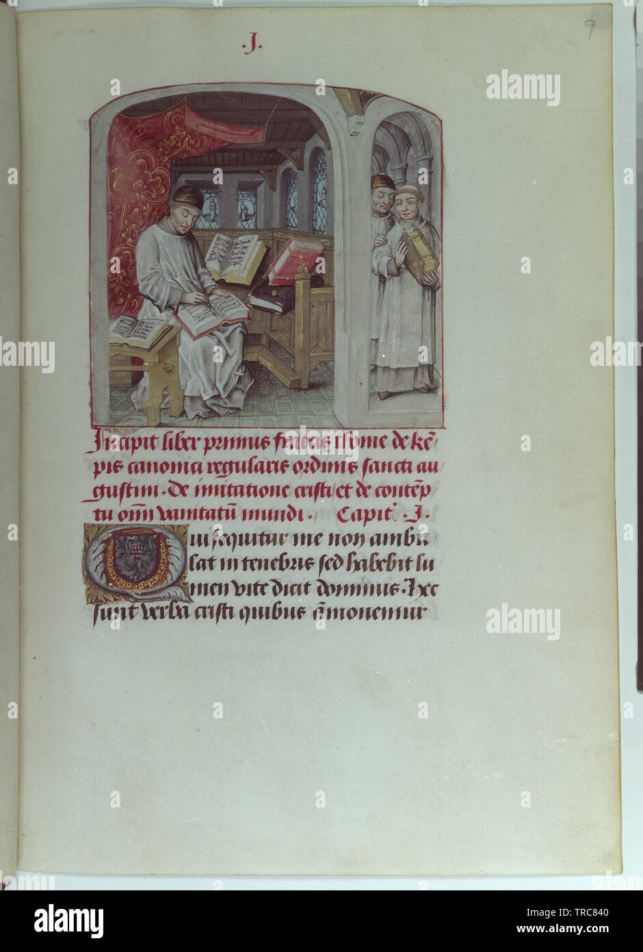 de impersonation Christi, codex 1576 folio 9 recto, full page: text with miniature: Thomas von Kempen in of his cubicle at a book writing, Additional-Rights-Clearance-Info-Not-Available Stock Photo