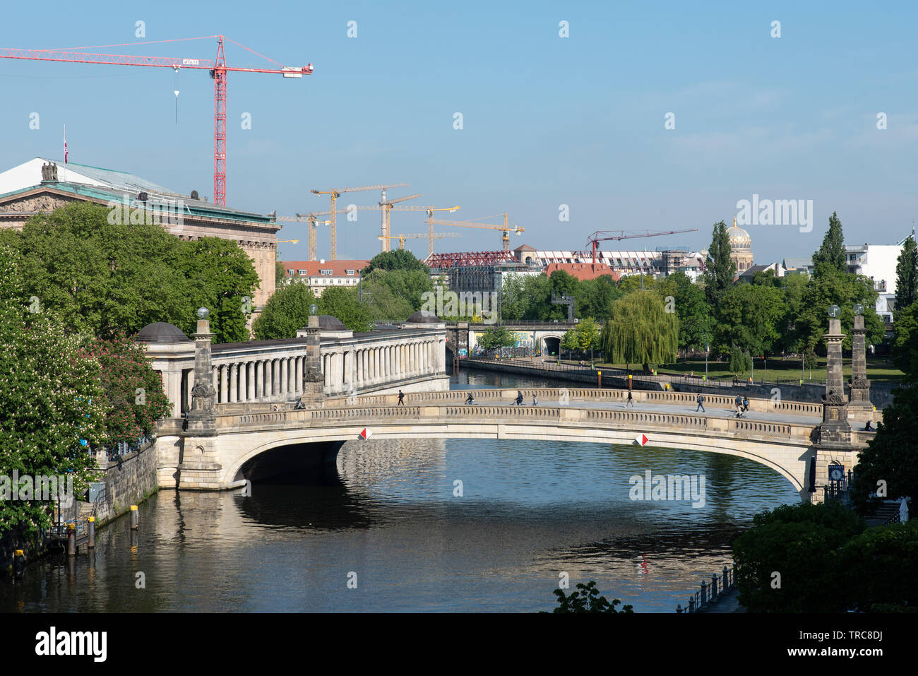 Friedrichbrücke over the river Spree leading to museum island, Berlin, Germany. - Stock Image