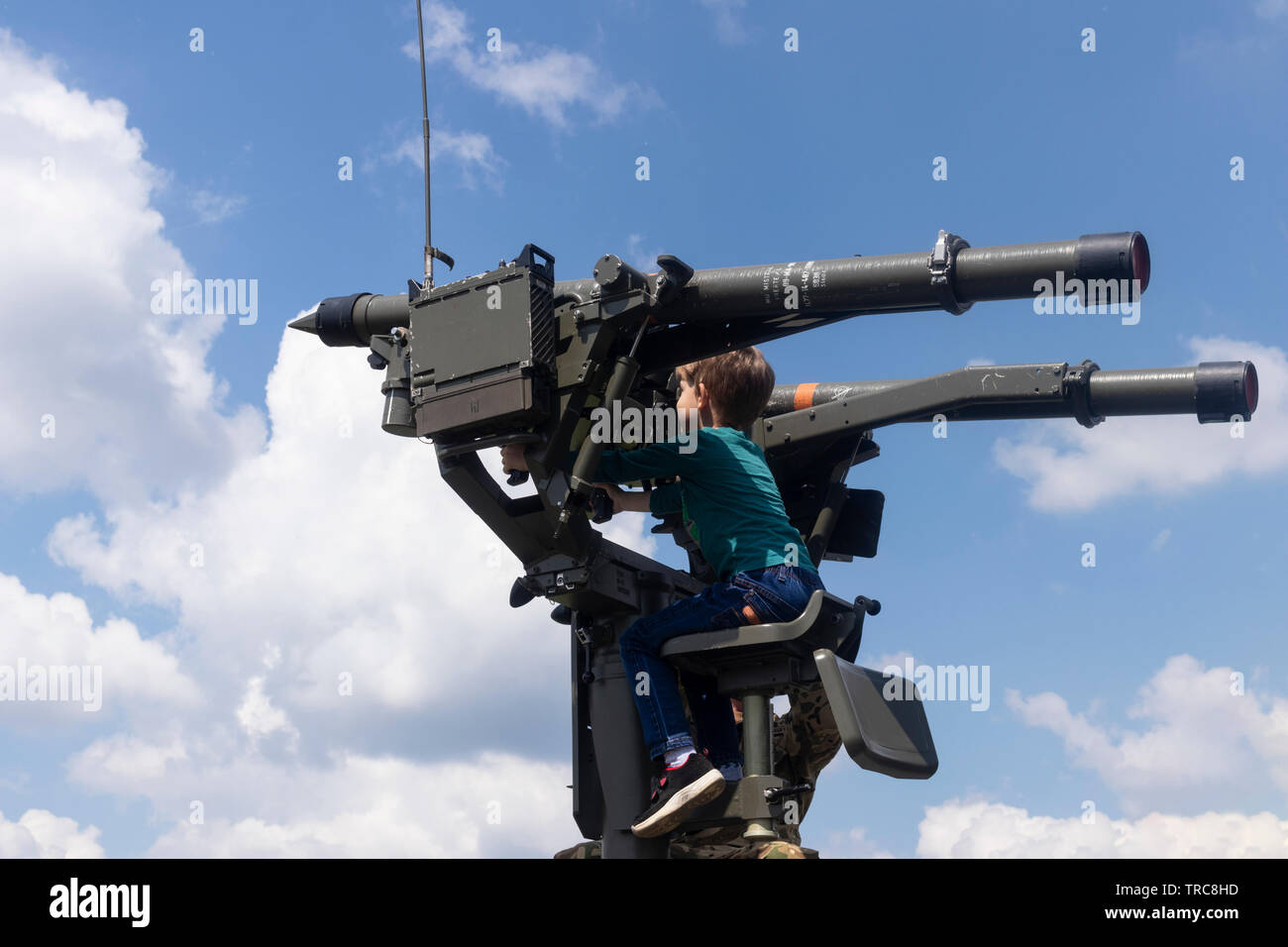 BUDAPEST/HUNGARY - 05.18, 2019: A Mistral surface-to-air twin missile turret at a defense show, against a blue sky. - Stock Image