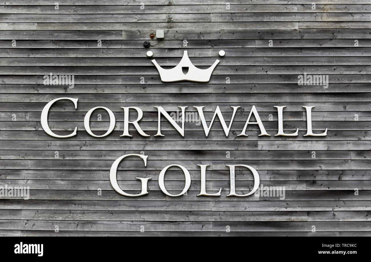 Cornwall gold sign at Tolgus Mill, Redruth, Cornwall, UK which produces jewellery and supports restoration of an on site tin mine. - Stock Image