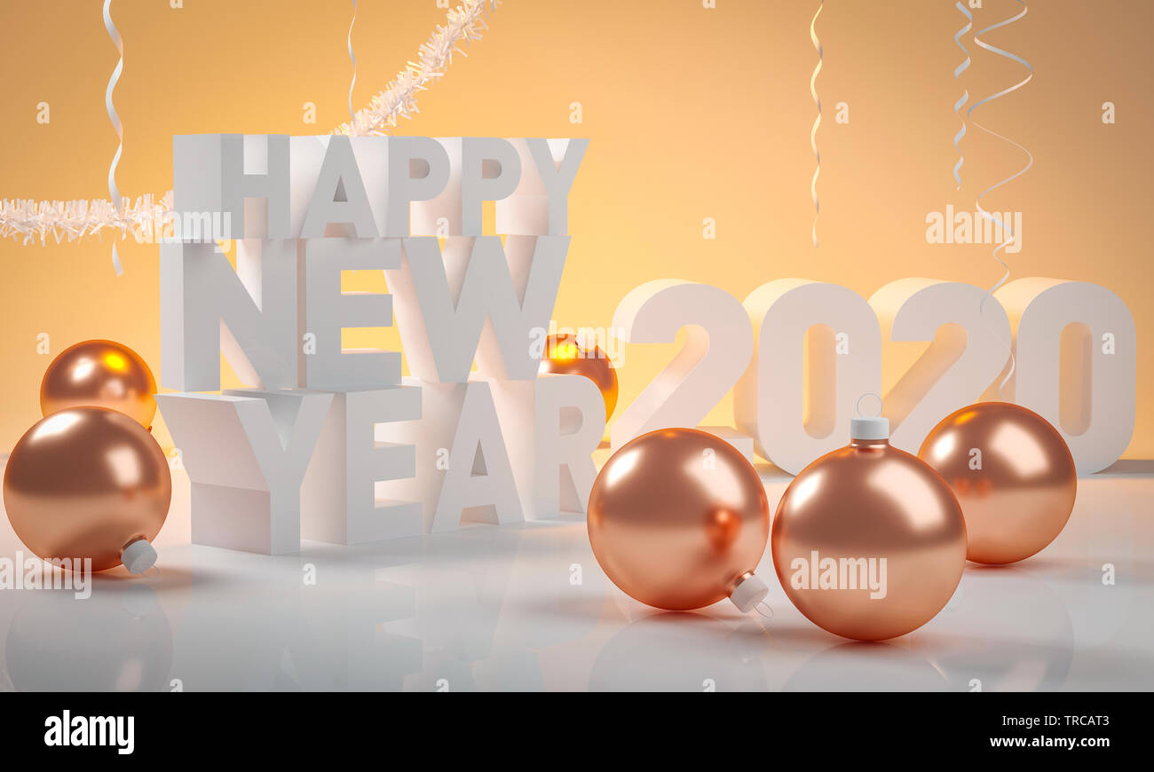 Christmas Ball And Happy New Year 2020 3d Render Stock