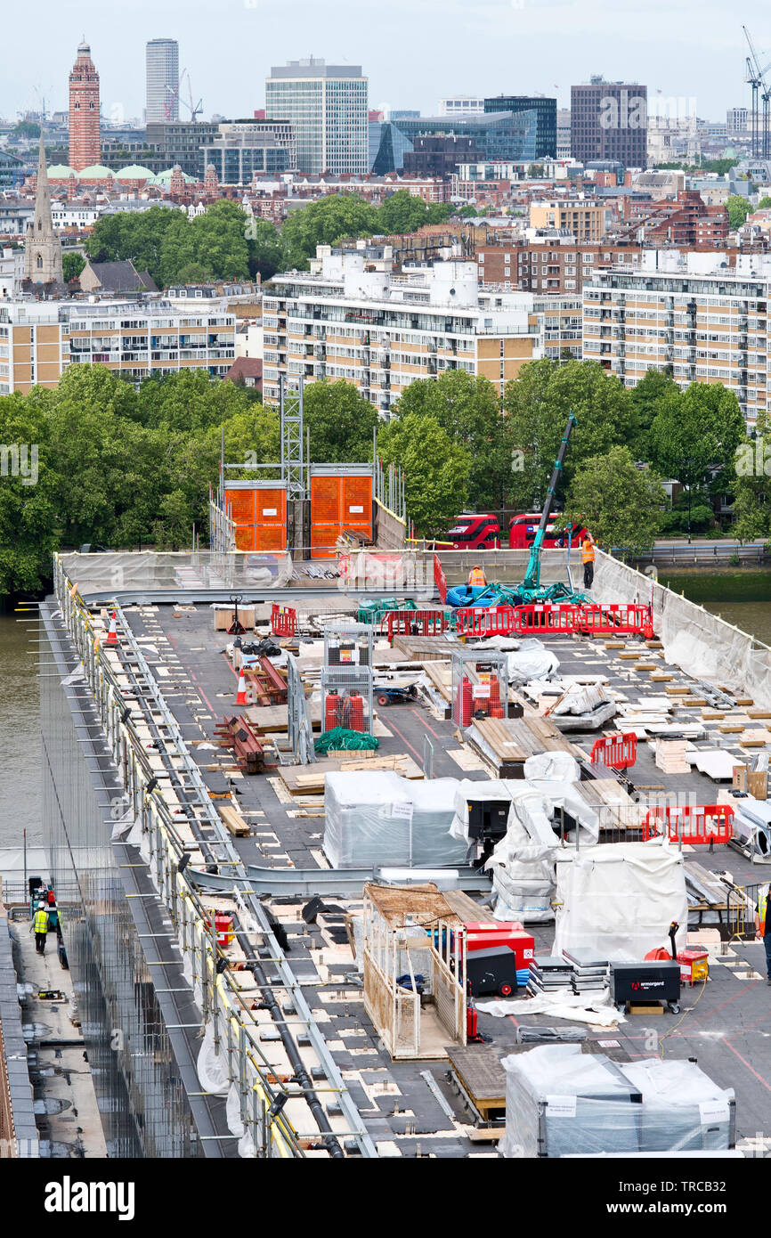 Battersea Power Station construction on the roof by the river Thames in south London. 31.05.19. - Stock Image