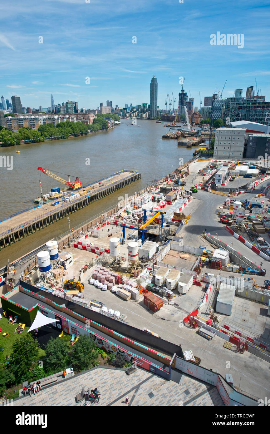 Empty jetty where 2 cranes unload coal at Battersea Power Station. The cranes which are listed structures are being restored. London. 31.05.19. - Stock Image