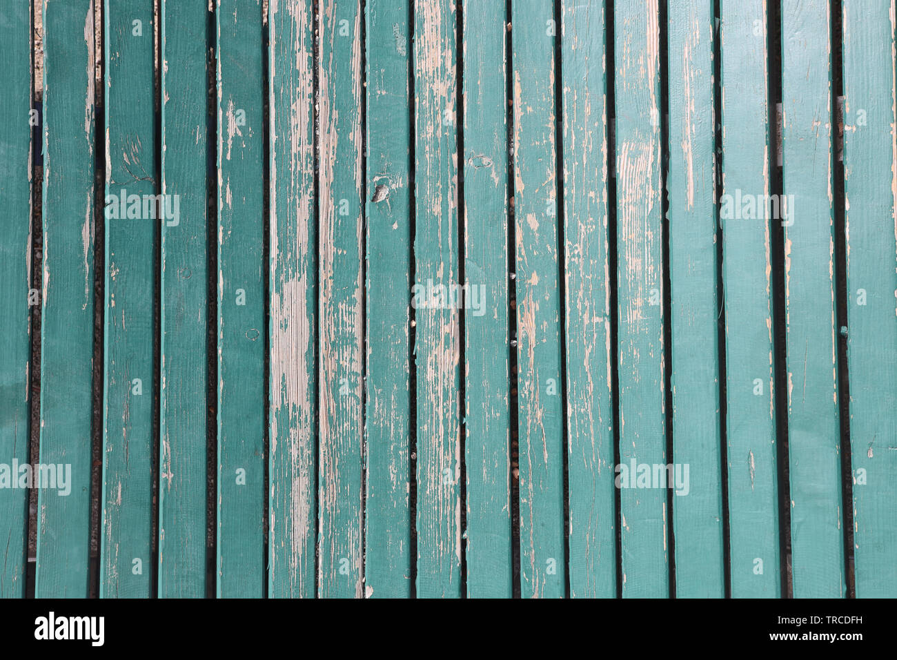 surface with green painted wooden planks - Stock Image