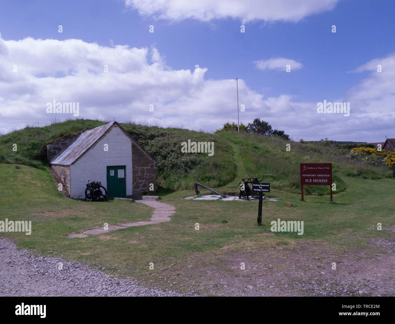 Findhorn Icehouse with fascinating underground arched chambers built over 150 years ago to store ice for packing salmon on the way to London Findhorn - Stock Image