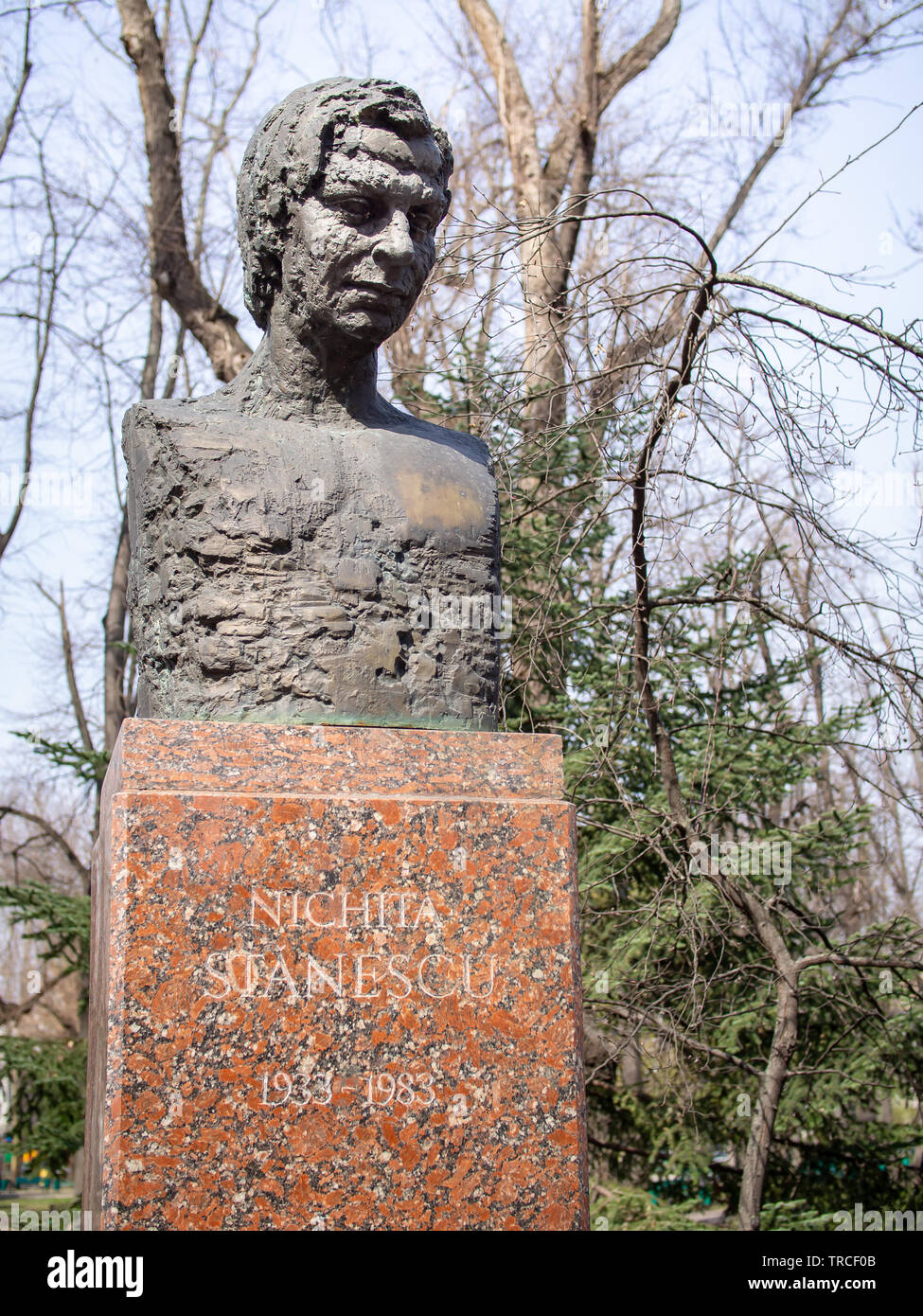CHISINAU, MOLDOVA-MARCH 21, 2019: Nichita Stanescu bust in the Alley of Classics - Stock Image