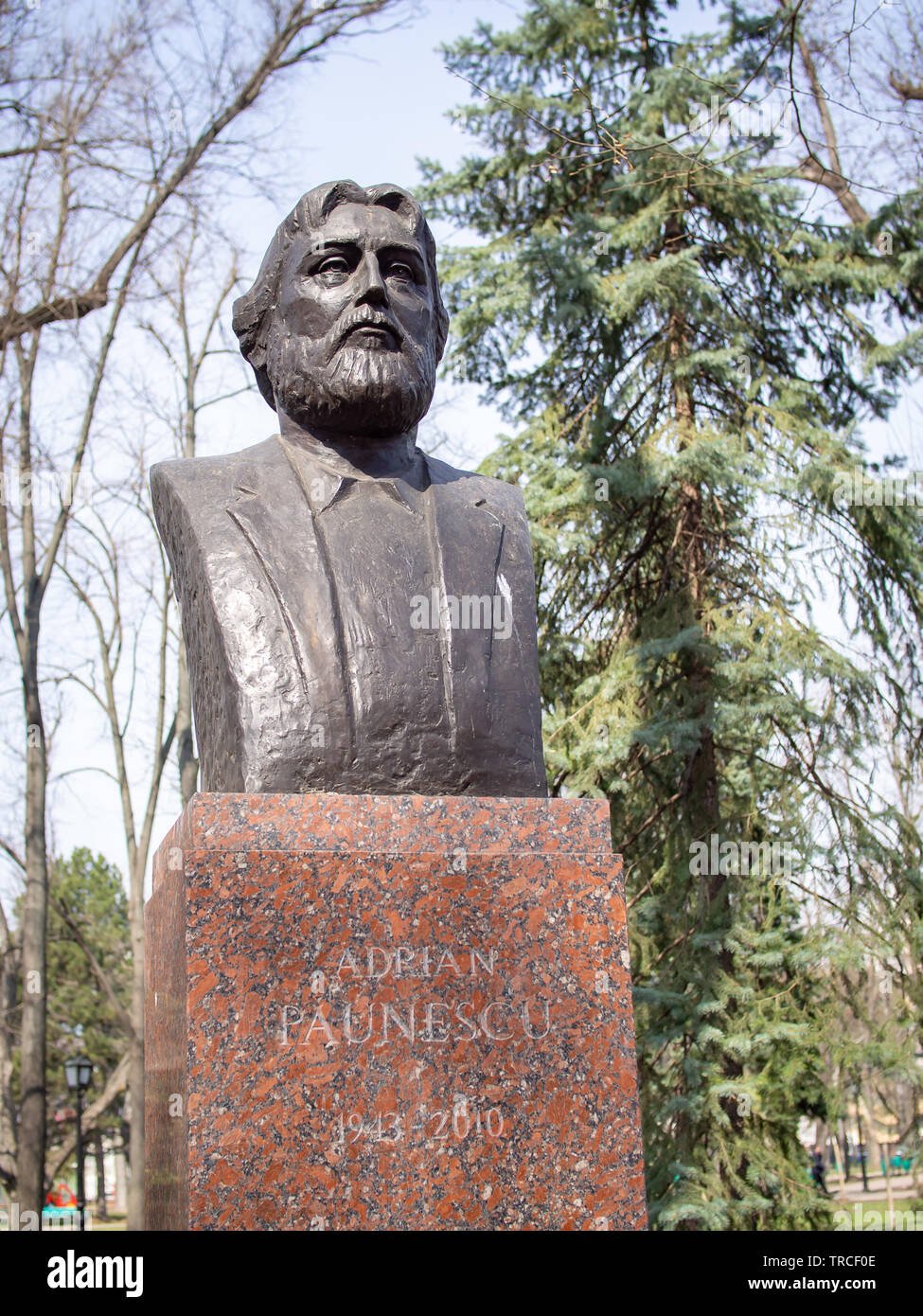 CHISINAU, MOLDOVA-MARCH 21, 2019: Adrian Paunescu bust in the Alley of Classics - Stock Image