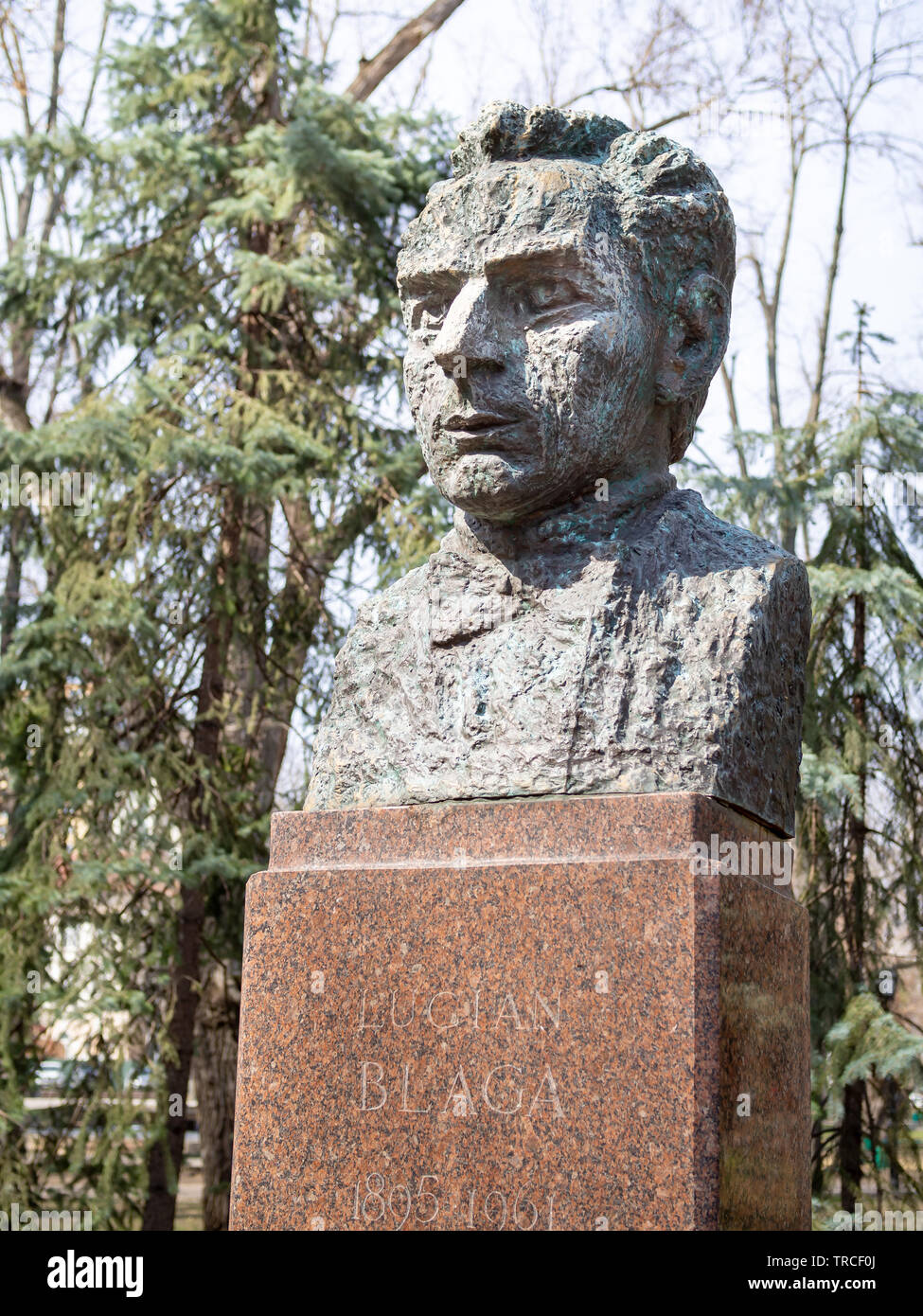 CHISINAU, MOLDOVA-MARCH 21, 2019: Lucian Blaga bust by Alexandra Picunov in the Alley of Classics - Stock Image