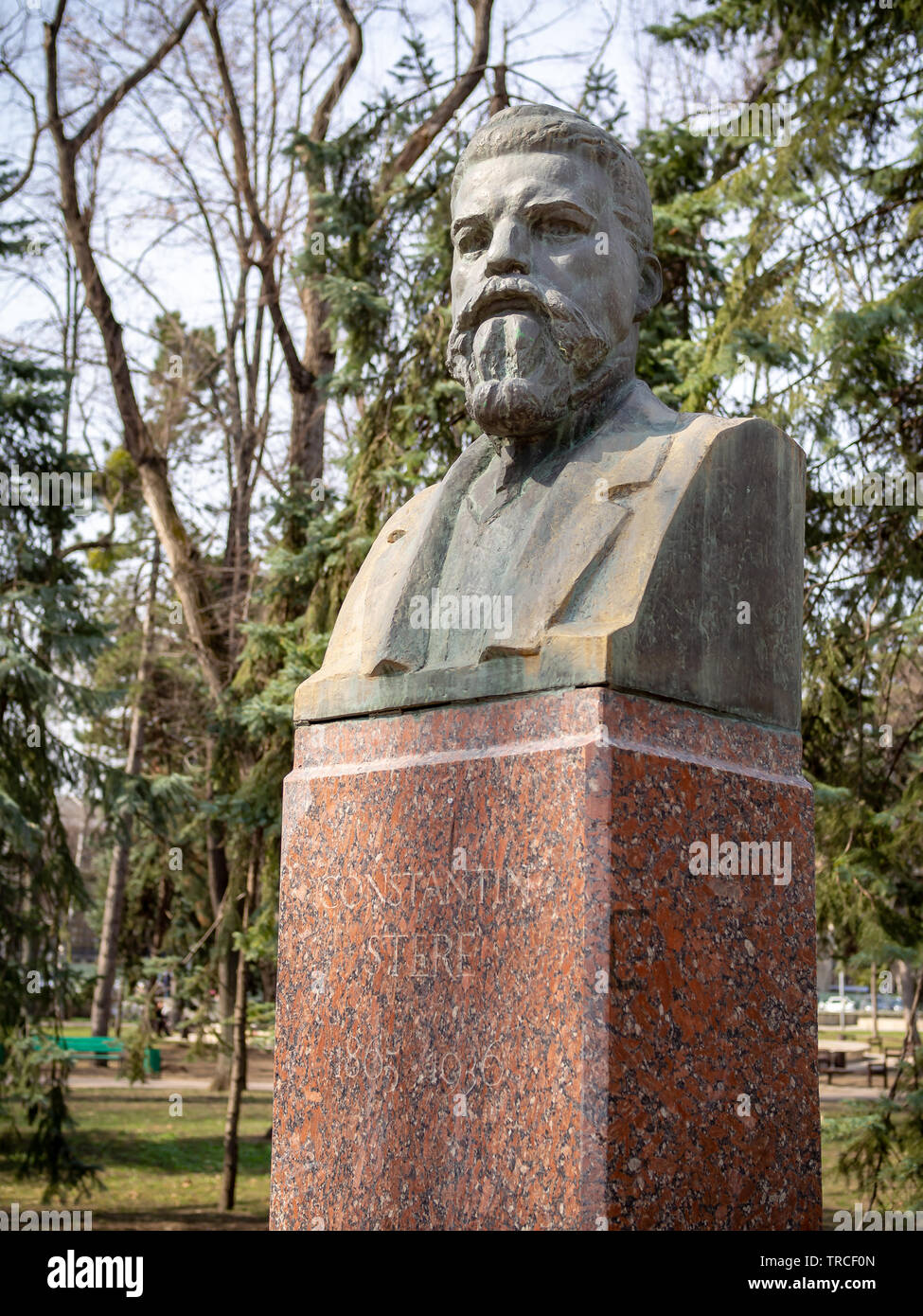 CHISINAU, MOLDOVA-MARCH 21, 2019: Constantin Stere bust by Giorgi Dubrovin in the Alley of Classics - Stock Image