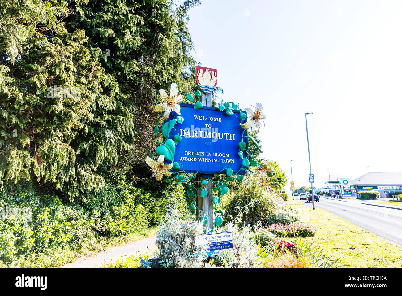Welcome to Dartmouth sign, Dartmouth, Devon, UK, England, Dartmouth Devon, Dartmouth UK, Dartmouth sign, sign, signs, Welcome, Dartmouth Town Devon UK Stock Photo