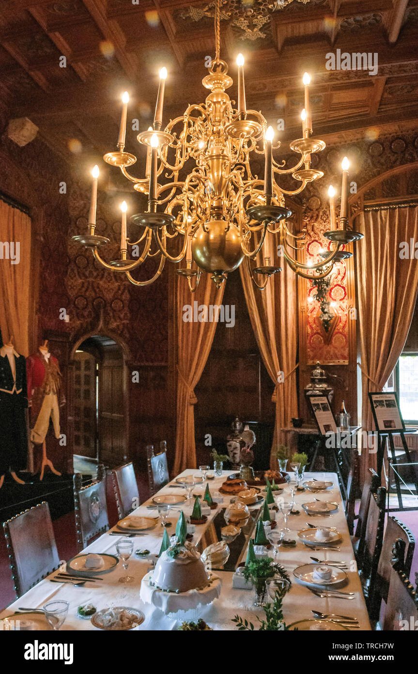 Luxurious furniture in De Haar Castle dining room, a richly ...