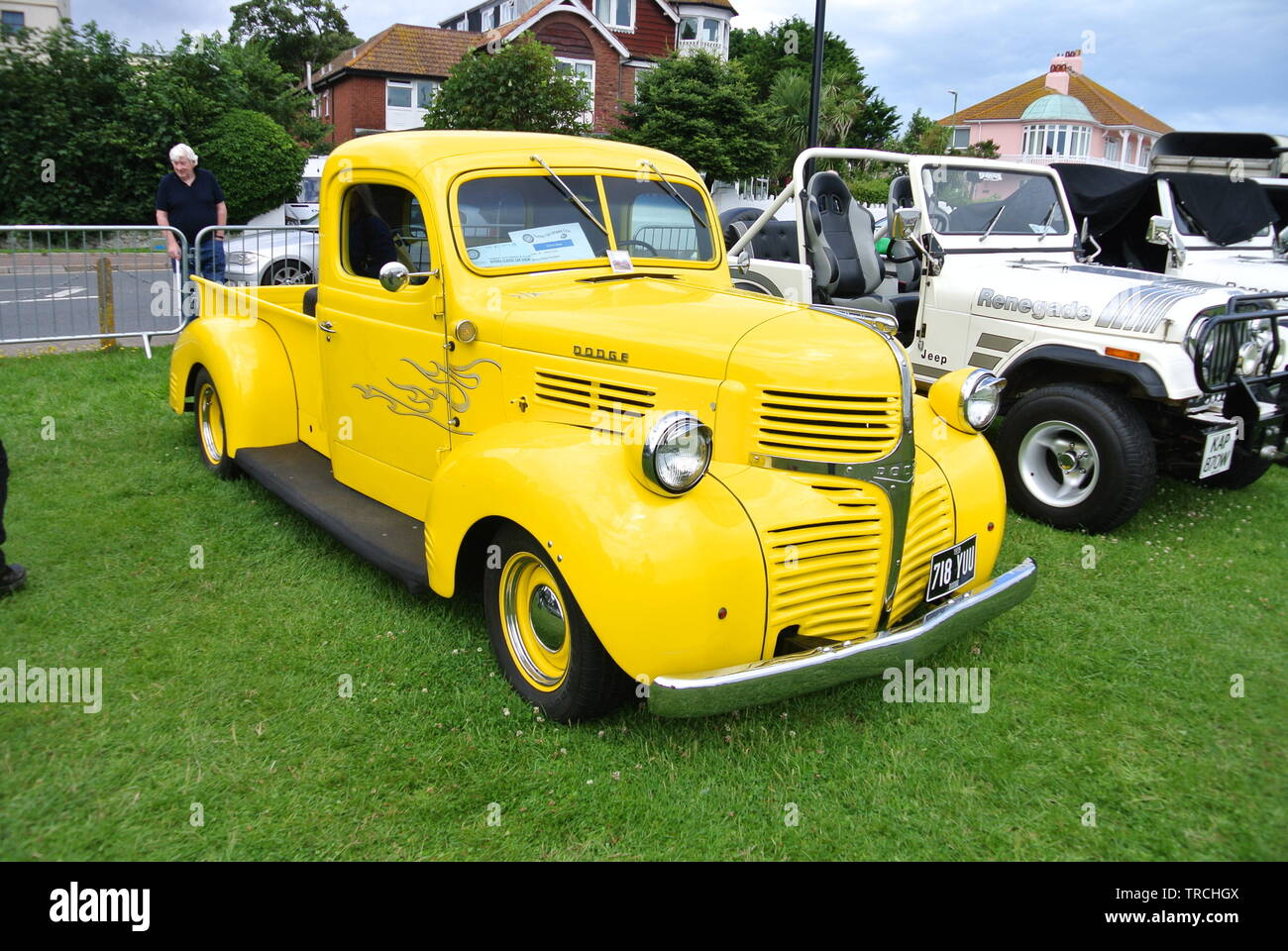 A 1939 Dodge Halfton pickup truck parked up on display at