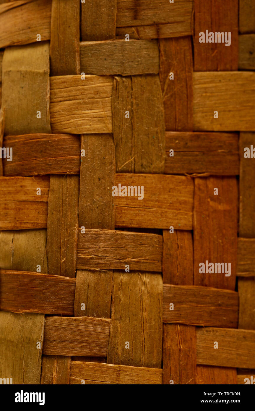 Photo of Brown Textured Braided Vimini Wood Background - Stock Image