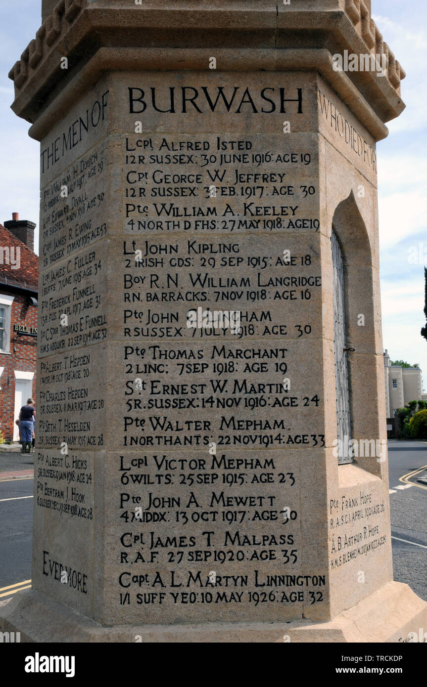 Cabeza colina entonces  The name of Lt. John Kipling, son of Rudyard Kipling, on the war memorial  in the East Sussex village of Burwash Stock Photo - Alamy