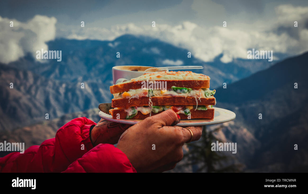 Glorious combination is that favourite food and favourite destination at the same place - Stock Image