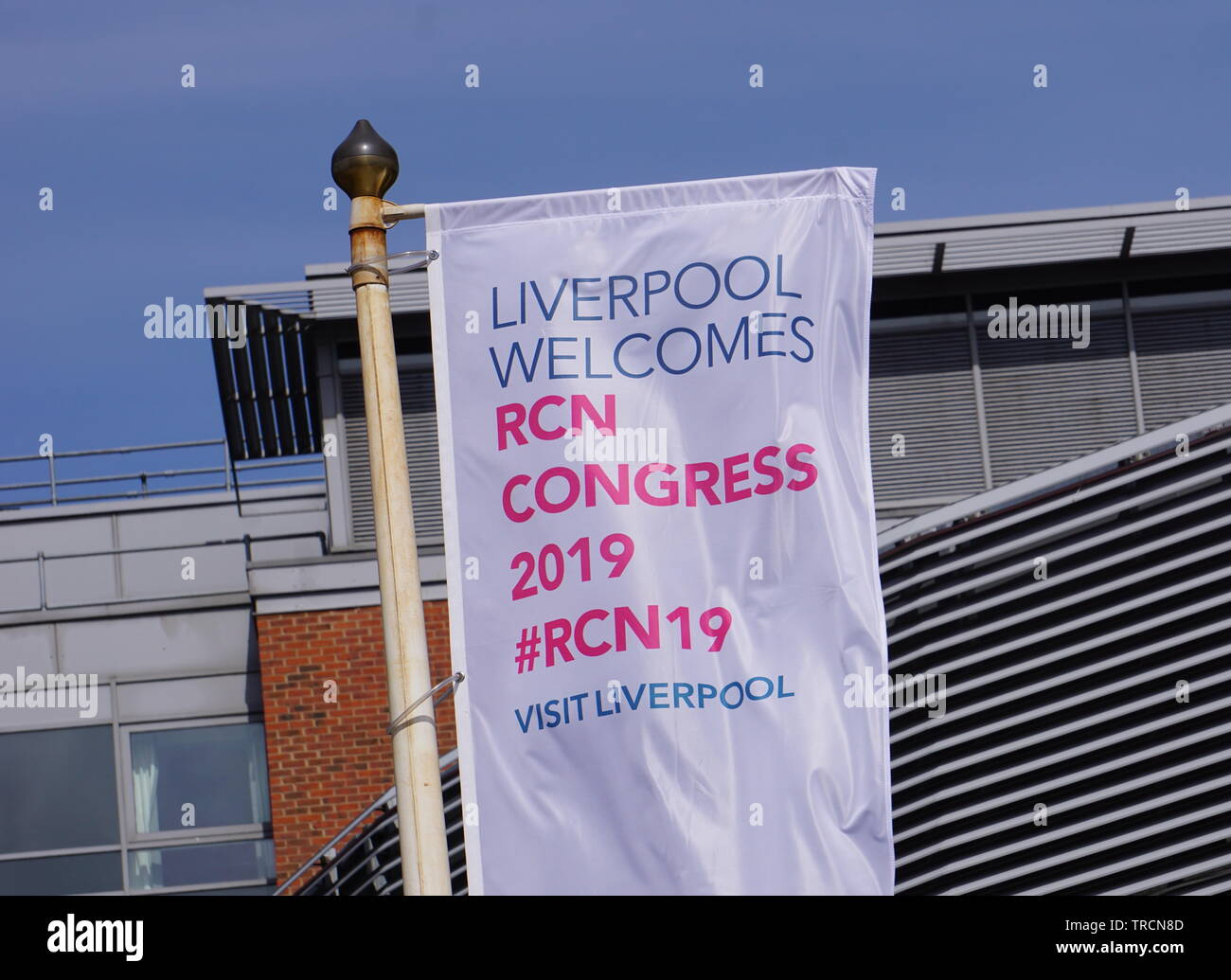 Flag outside the ACC in Liverpool during the Royal College of Nursing Annual Congress - Stock Image