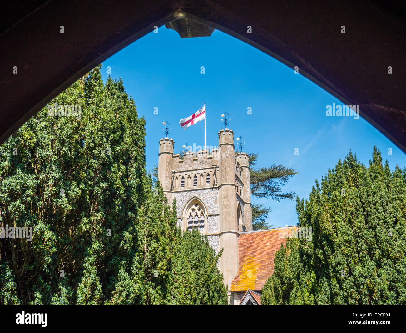 Church Tower, St Mary the Virgin Church Hambleden, used in TV Show Good Omens, Buckinghamshire, England, UK, GB. - Stock Image