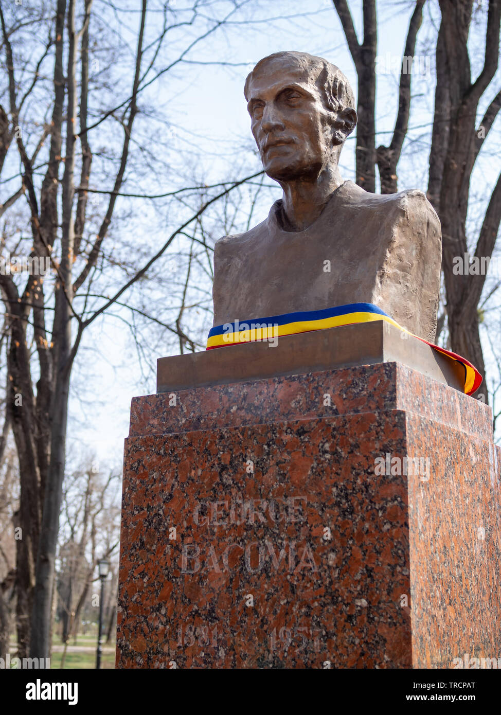 CHISINAU, MOLDOVA-MARCH 21, 2019: George Bacovia bust by Milita Petrascu in the Alley of Classics - Stock Image