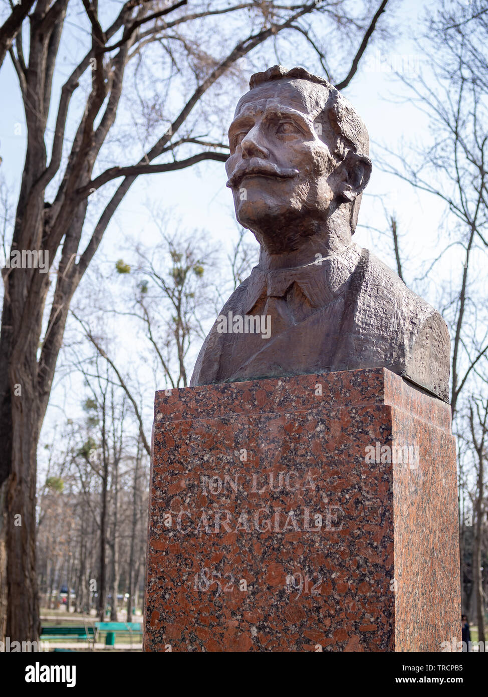 CHISINAU, MOLDOVA-MARCH 21, 2019: Ion Luca Caragiale bust in the Alley of Classics - Stock Image
