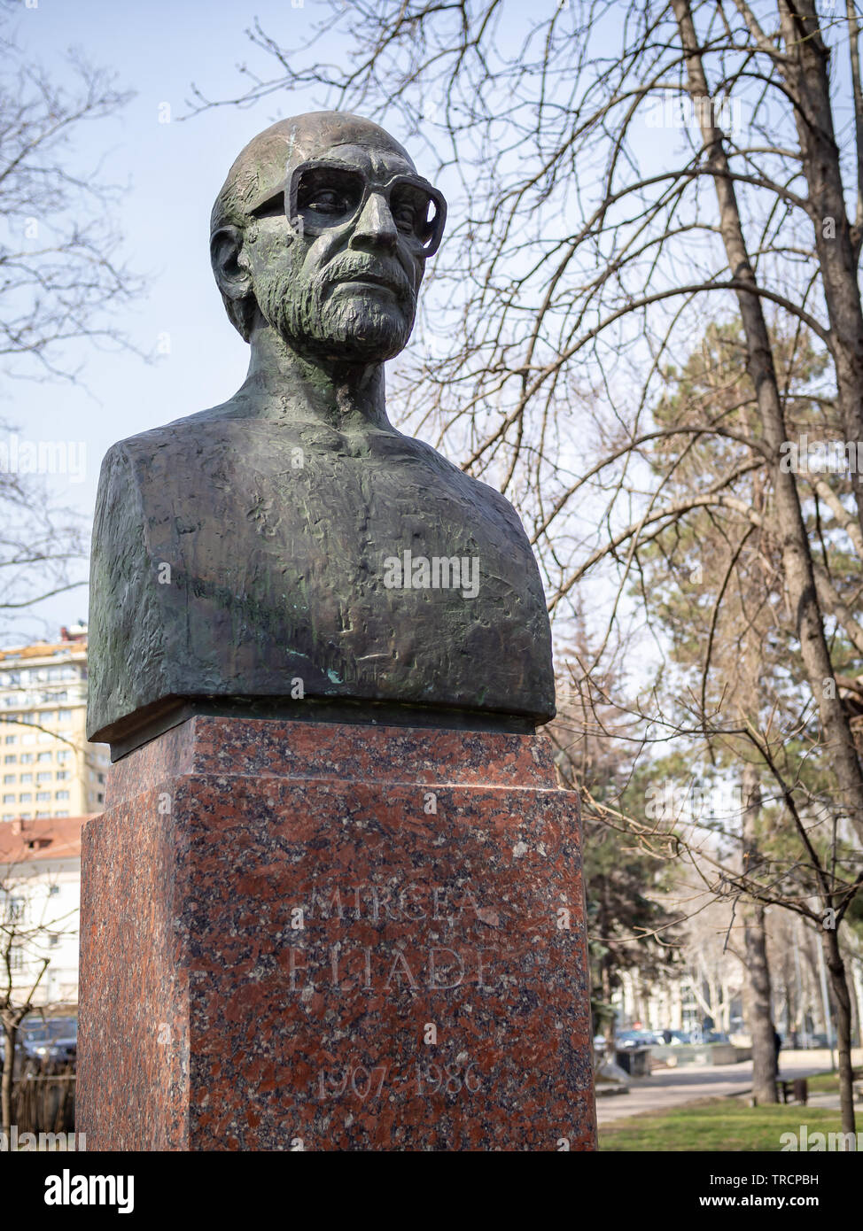 CHISINAU, MOLDOVA-MARCH 21, 2019: Mircea Eliade bust by Vasile Golea in the Alley of Classics - Stock Image