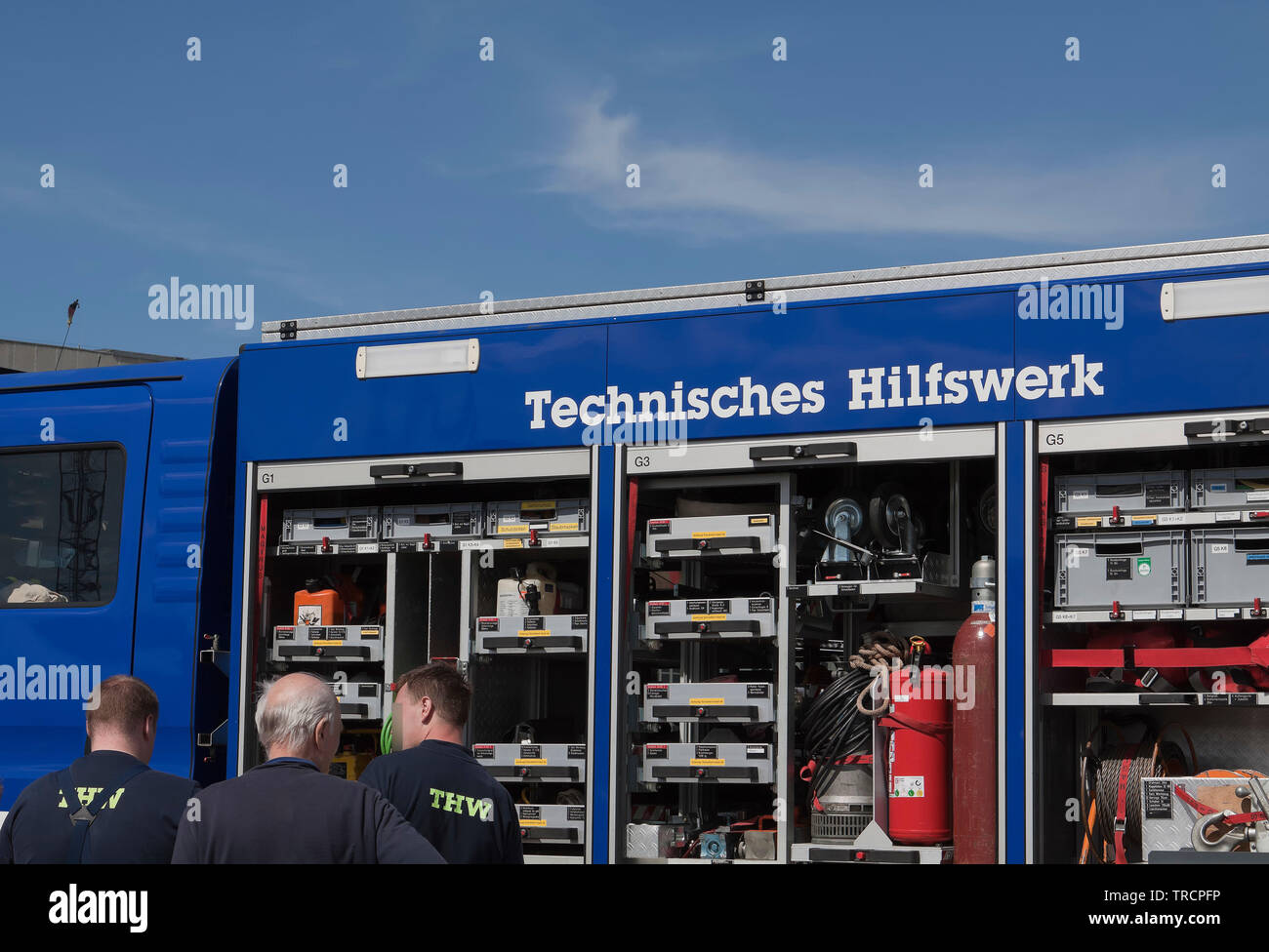 Bundesanstalt Technisches Hilfswerk (THW, Federal Agency for Technical Relief) is a civil protection organisation - Stock Image